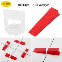 1.5mm Tile Leveling System 400pcs Clips+100pcs Reusable Wedges Self Leveling Plastic Tile SpacersT Lock for Floor Wall Ceramics
