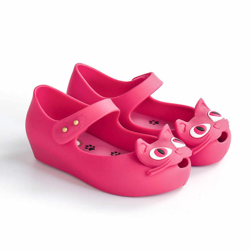 מיני מליסה סנדלי Cartoon 2019 חדש חתול בנות נעלי ילדה החוף מליסה ילדי נעלי שאינו להחליק