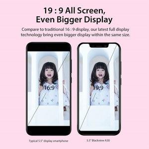 "Image 4 - Blackview Original A30 2GB + 16GB 5,5 ""Smartphone 19:9 Volle Bildschirm MTK6580A Quad Core Android 8.1 Dual SIM Gesicht ID Handy"