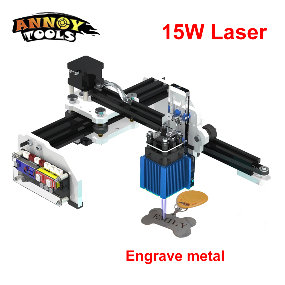 15W 15000mw DIY CNC Laser Engraver Cutter Mini Desktop Laser Engraver Printer for wood,plastic and family working