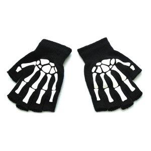 Дети Хэллоуин косплей Скелет половина пальцев перчатки светящиеся варежки без пальцев Q1QA