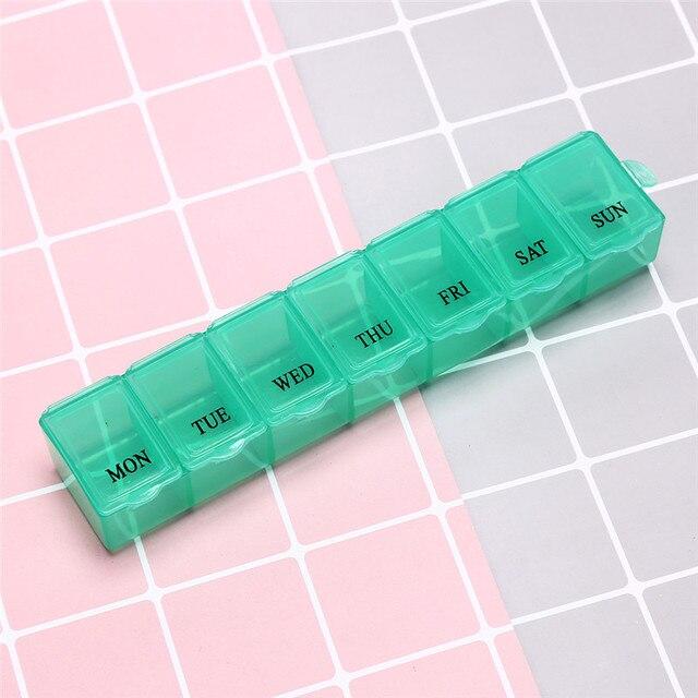 1Pc 7 dni Pill apteczka tygodniowa porcja tabletek Holder Storage Organizer pojemnik Case pudełko na pigułki Splitters 3 kolory