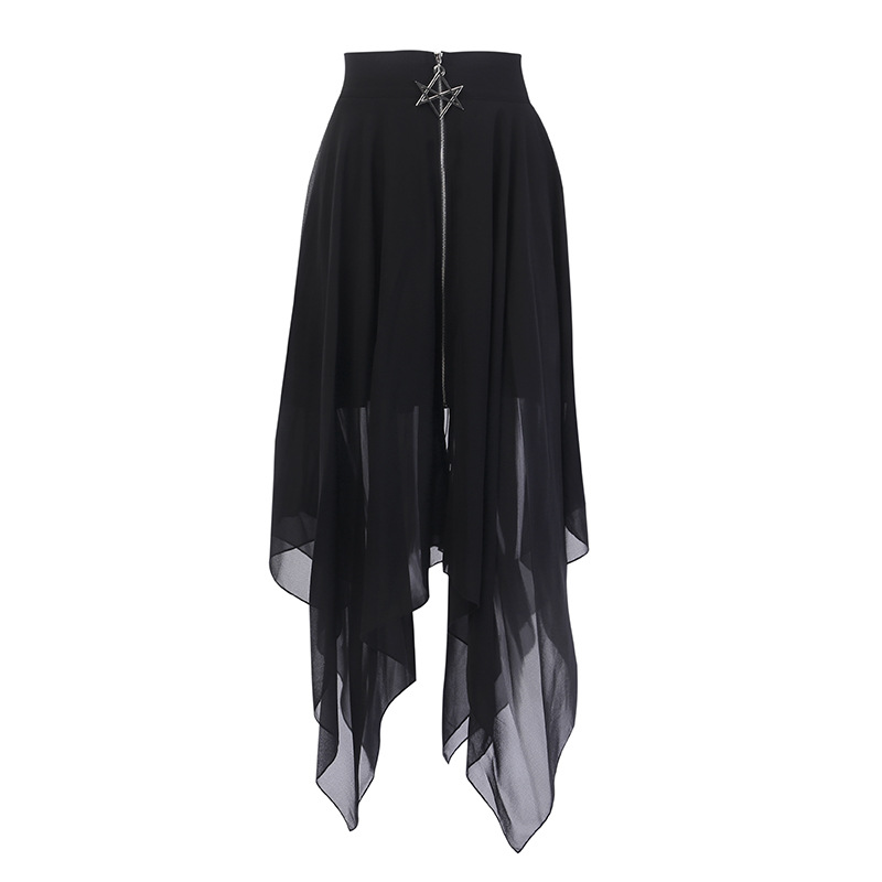 Mesh Irregular Women Skirts Pentagram Zipper Black Punk Skirts Gothic Darkness Lady Party Skirt Casual Loose Streetwear Skirts