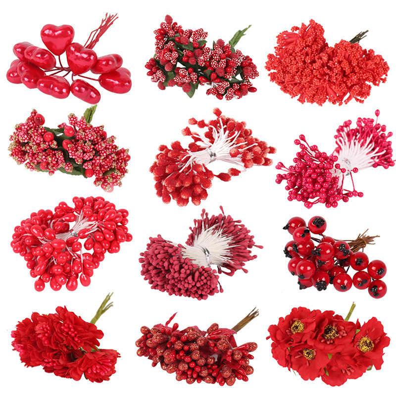 8/10/12/90/144 pièces or mixte hybride fleur cerise étamine baies Bundle bricolage gâteau noël mariage cadeau boîte couronne déco