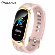 חדש ספורט עמיד למים חכם שעון נשים חכם צמיד להקת Bluetooth קצב לב צג גשש כושר Smartwatch מתכת מקרה
