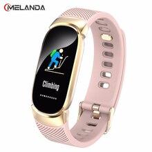 ใหม่กีฬากันน้ำสมาร์ทนาฬิกาผู้หญิงสร้อยข้อมือสมาร์ทบลูทูธHeart Rate Monitor Fitness Tracker Smartwatchโลหะกรณี