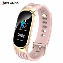 Smartwatch sportowy dla kobiet, wodoodporny, inteligentny zegarek damski, pulsometr, inteligentna bransoletka, opaska fitness, metalowa obudowa