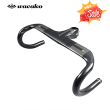 wacako Bike Carbon Road Handlebar Bicycle Handle bar Ultra light Integrated Handlebars and Stem Carbon Handlebar 337g