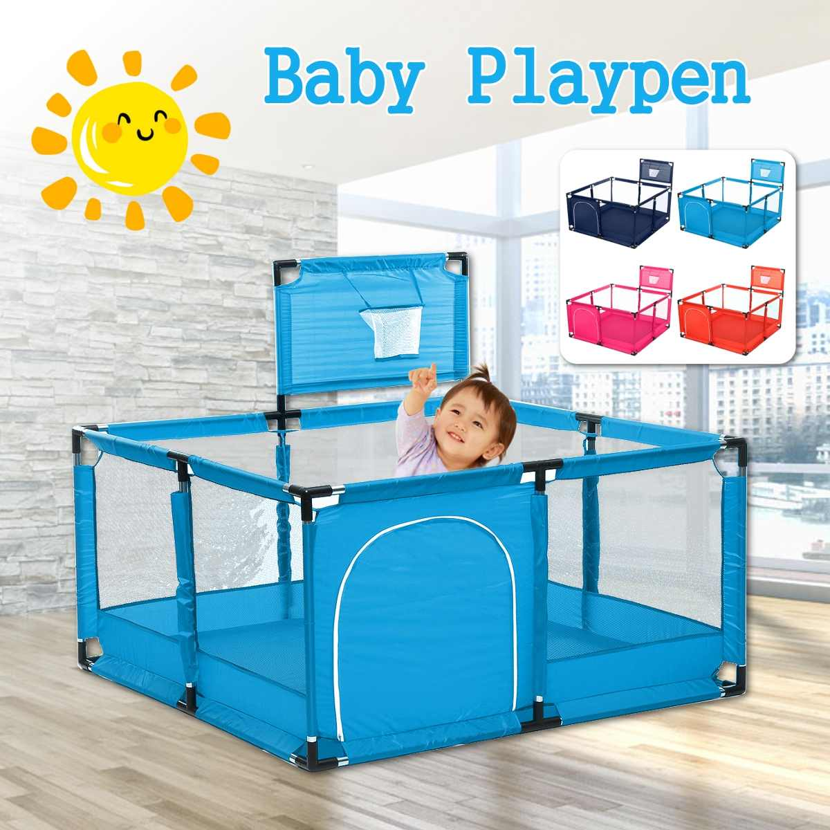Bioby Baby Playpen <font><b>Children</b></font> Toddler Kids Safety Fence Indoor Outdoor Play Pen Ocean Ball Pool Safety Barrier with Basket image