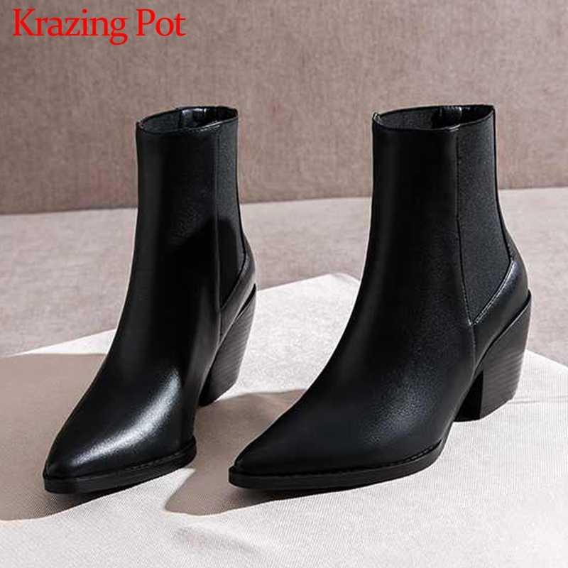 Krazing Pot büyük boy moda ofis bayan klasik sivri burun yüksek topuklu karışık renkler kış sıcak tutmak kadınlar yarım çizmeler L9f2