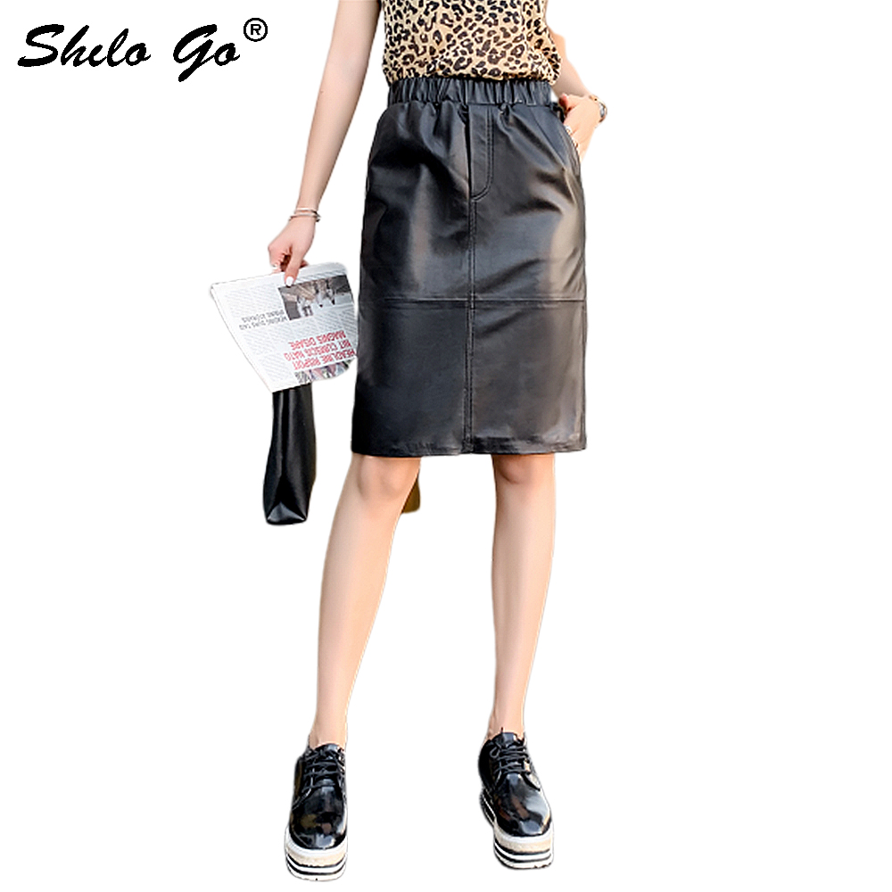Genuine Leather Skirt Black Solid Elastic Waist Solid Pencil Skirt 2020 Autumn Office Lady Slit Hem Pocket Knee Length Skirt