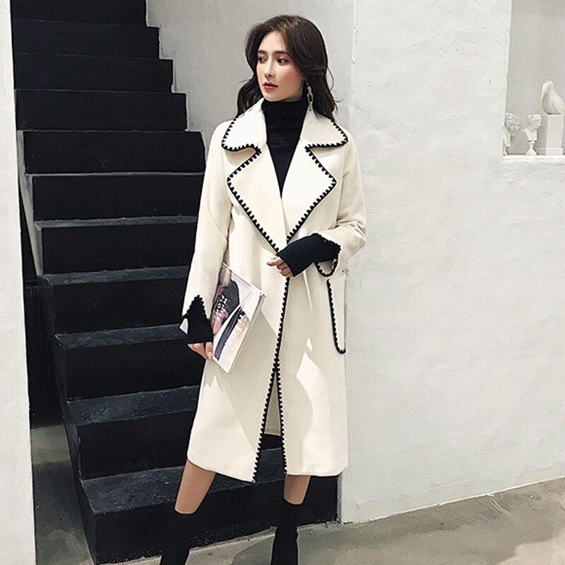 2019 femme laine long blanc manteau laine mélangée haute qualité hiver veste femmes Slim cachemire manteaux Cardigan vestes élégant