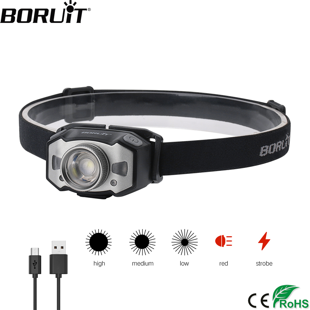 BORUiT B33 LED Motion IR Sensor Mini Headlamp XP G2+2*3030 Red Light 5 Mode Zoom Headlight Rechargeable Head Torch Hunting Light|Headlamps|   - AliExpress