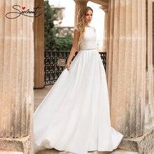 Женское свадебное платье без рукавов с круглым вырезом
