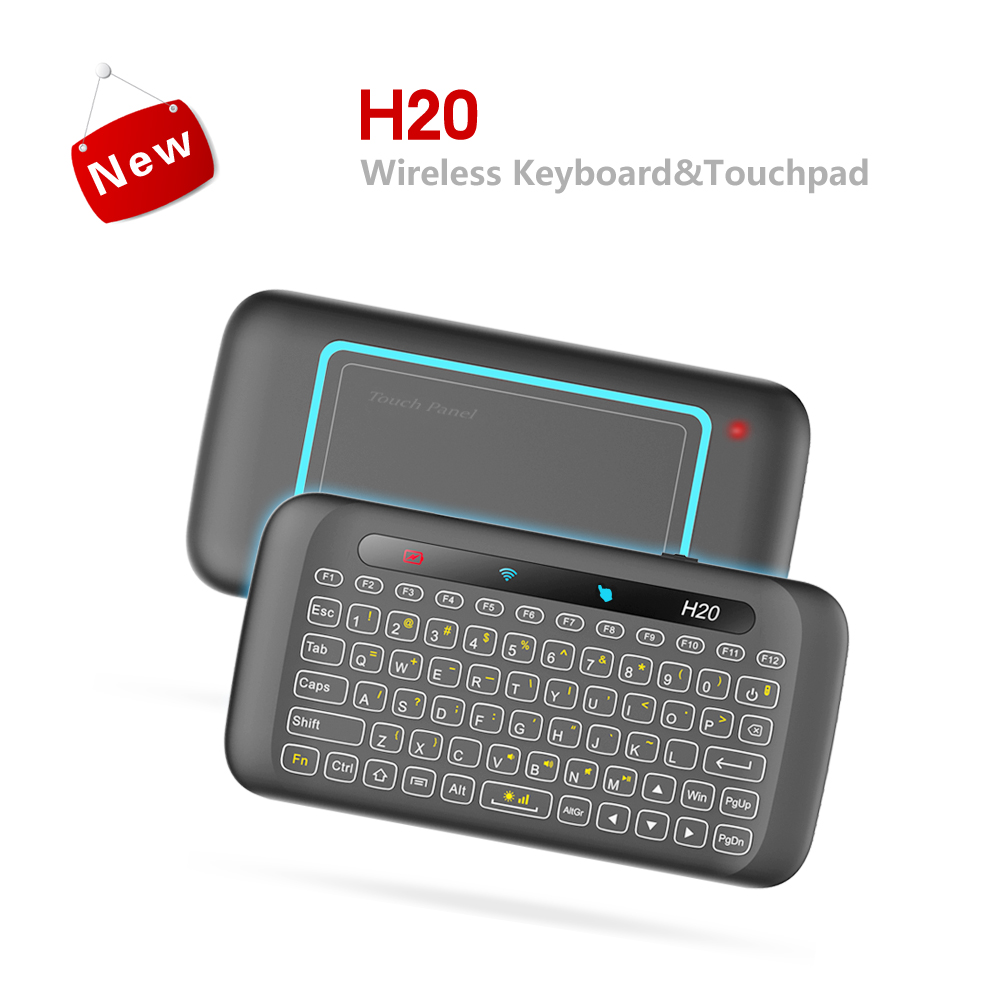 MRSVI H20 Mini Wireless Keyboard Backlight Touchpad Air mouse IR Leaning Remote control For Andorid BOX Smart TV Windows