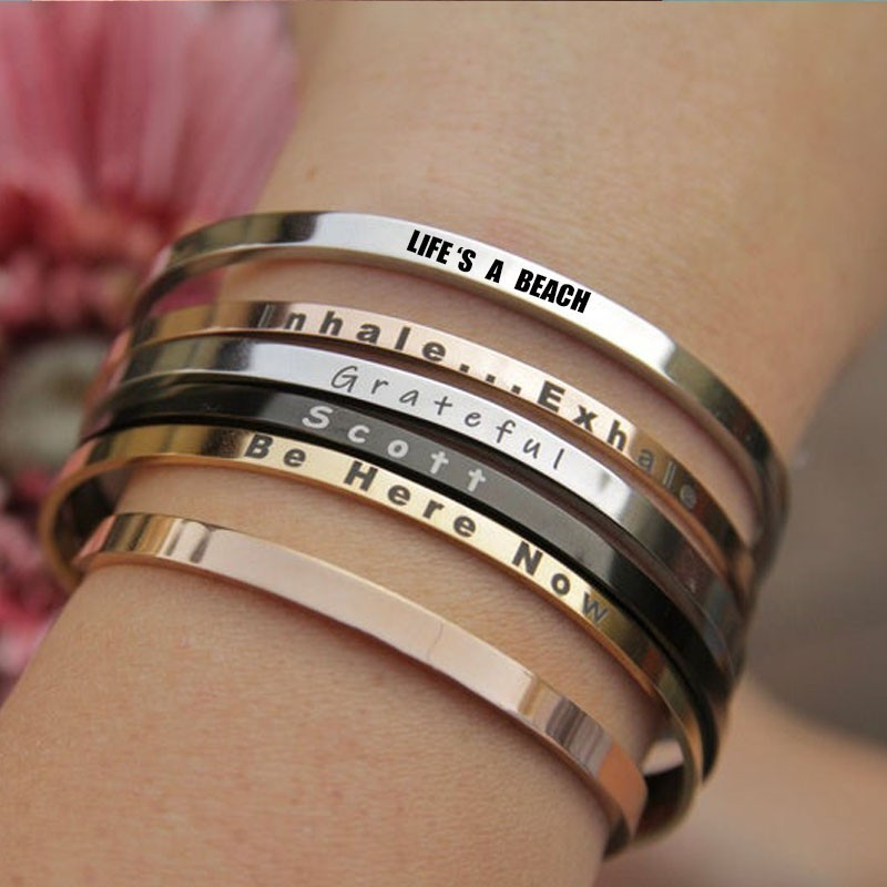 Personalized Rose Gold Cuff <font><b>Bracelet</b></font> Inspiration Coordinate <font><b>Open</b></font> Bangle Stainless Steel Stamped Women Lady Female Jewelry image