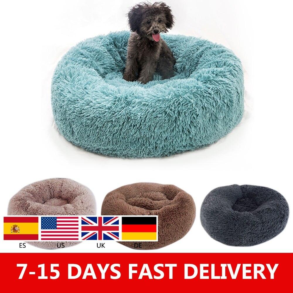 Длинная плюшевая супер мягкая собачья кровать питомник круглый Спальный Мешок Лежак домик для кошек Зимний теплый диван корзина для маленьких средних и больших собак|Дома, конуры и манежи|   | АлиЭкспресс