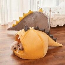 Rahat Pet uyku ev küçük köpek için dinozor şekli yumuşak yuvarlak evcil kedi yatak yastık çıkarılabilir yıkanabilir Kitty köpek aksesuarları
