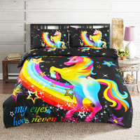 3D Cute Bedding Set Rainbow Unicorn 3 piece Child Bedset Winter Black Anime Full Size Couple Double Duvet Cover and Pillowcases
