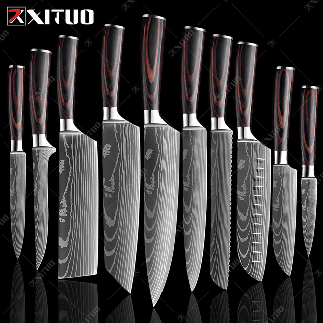 Japanese Chef Knives With Laser Etched Damascus Steel Pattern 1