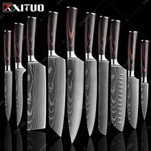 XITUO 1-10 sztuk japoński noże kuchenne 3-8 cal Laser Damascus wzór chef nóż ostry Santoku Cleaver krojenie Utility noże tanie tanio CN (pochodzenie) STAINLESS STEEL Ekologiczne Na stanie 3 5 quot 5 quot 6 quot 7 8 quot chef knives CE UE Lfgb japanese chef knife cuchillos de cocina profesionales damascus steel