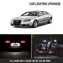 طقم مصباح داخلي Canbus LED أبيض 17x للسيارة ، مصباح داخلي للسيارة AUDI A6 4F C6 S6 RS6 ، مع خريطة Avant ، مصباح مرآة الباب ، 2005 2011