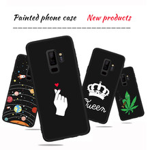 Black Soft Silicone Back Shell Case For Samsung Galaxy A5 2017 S8 Plus S9 A8 Plus 2018 Note 8 Cool Leaf Stars Printed Cover(China)