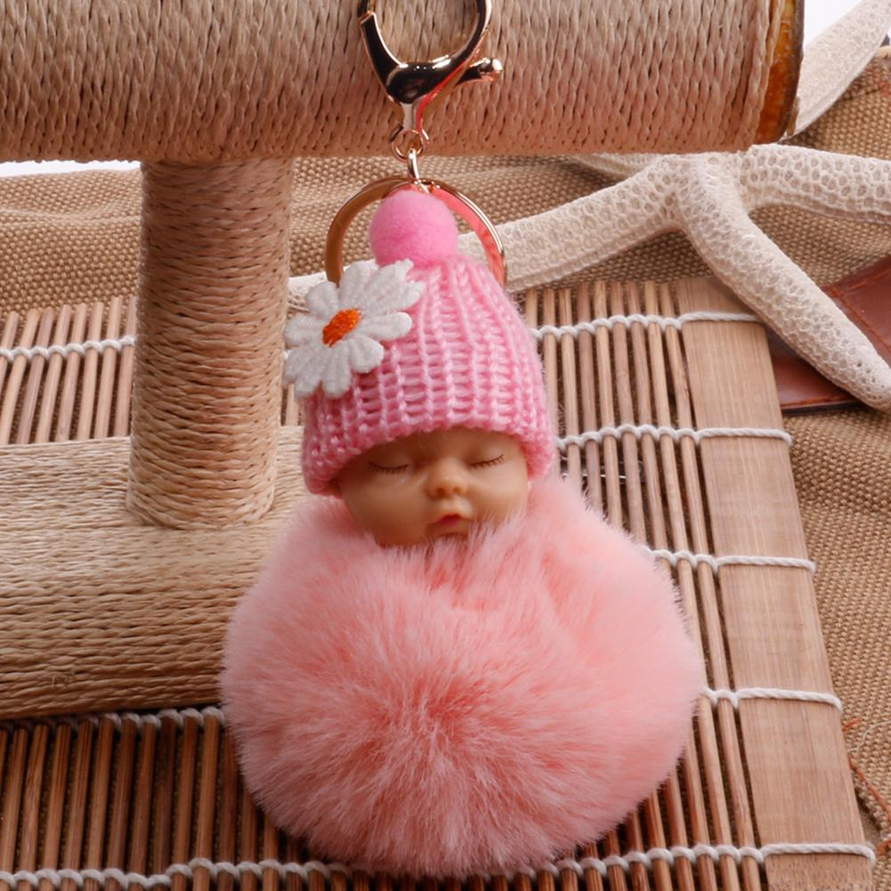 Cute Sleeping Baby Fluffy <font><b>Pompom</b></font> Plush Doll Hanging Pendant <font><b>Key</b></font> <font><b>Ring</b></font> Keychain image
