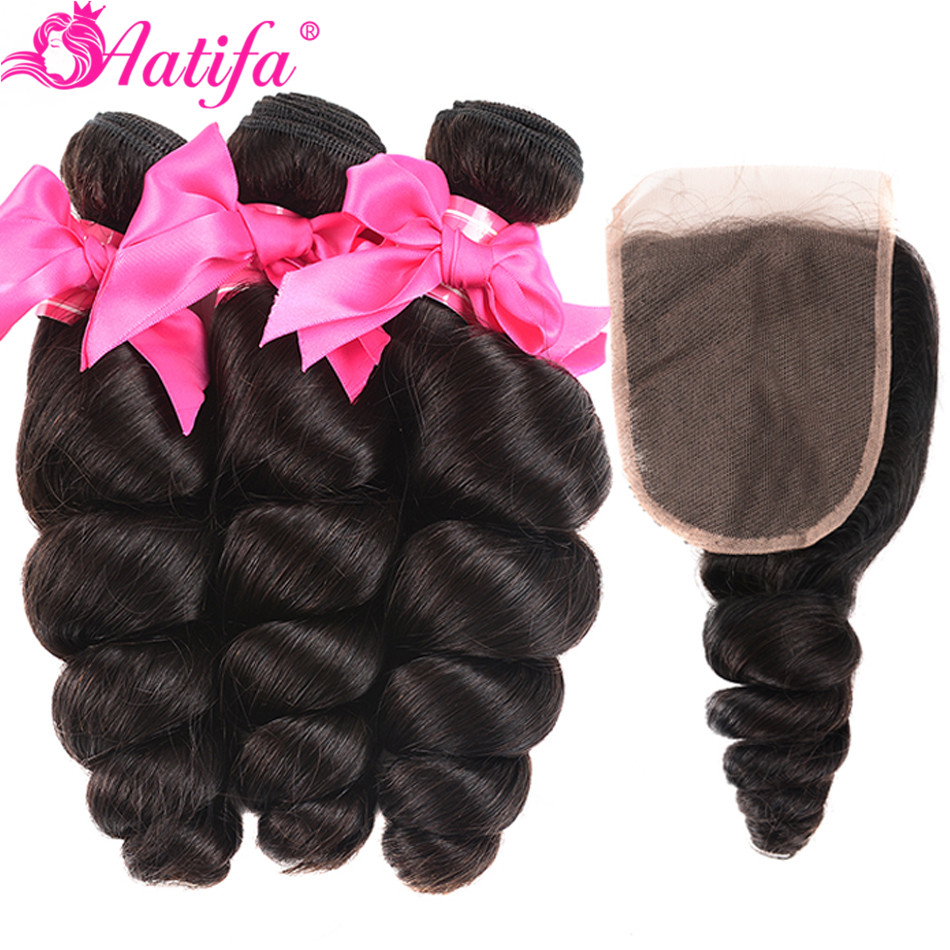 Brazilian Loose Wave Bundles With Closure 100% Human Hair Bundles With Closure Remy Hair 3 Bundles With Closure Aatifa Hair-in 3/4 Bundles with Closure from Hair Extensions & Wigs    1