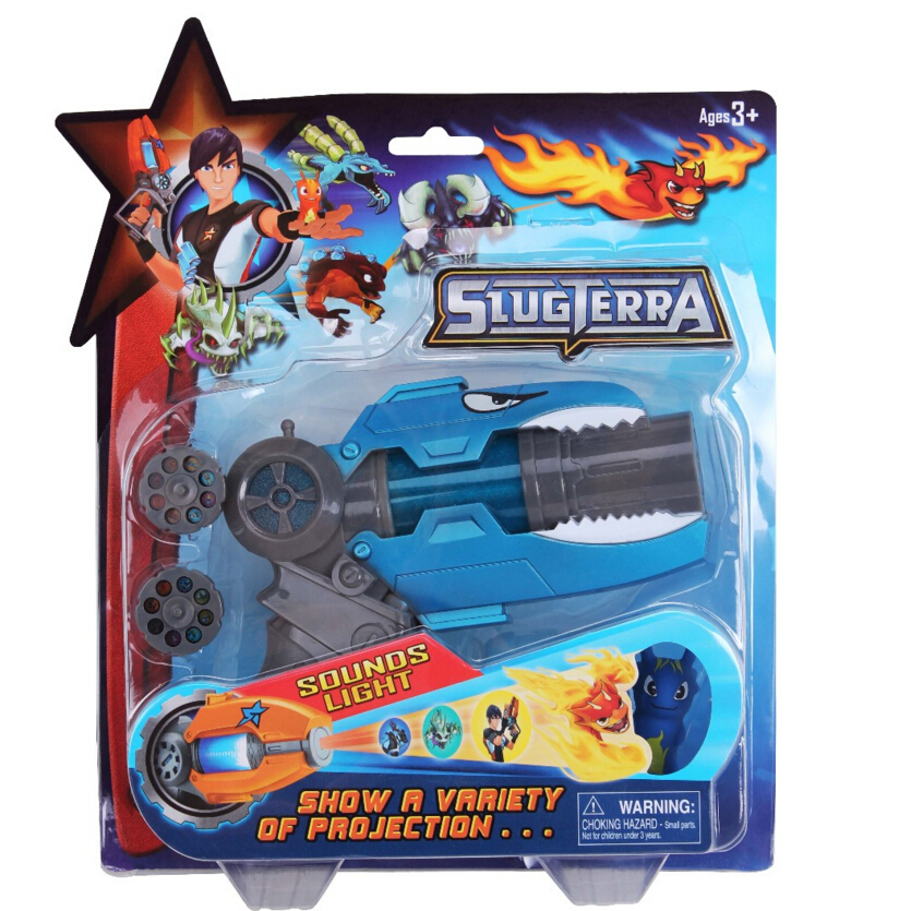 [New] 23CM Anime Slugterra Sounding Light Toy Gun Give 1 Slugterra Doll Action Figure As Presents Boy Projection Pistol Gun Gift
