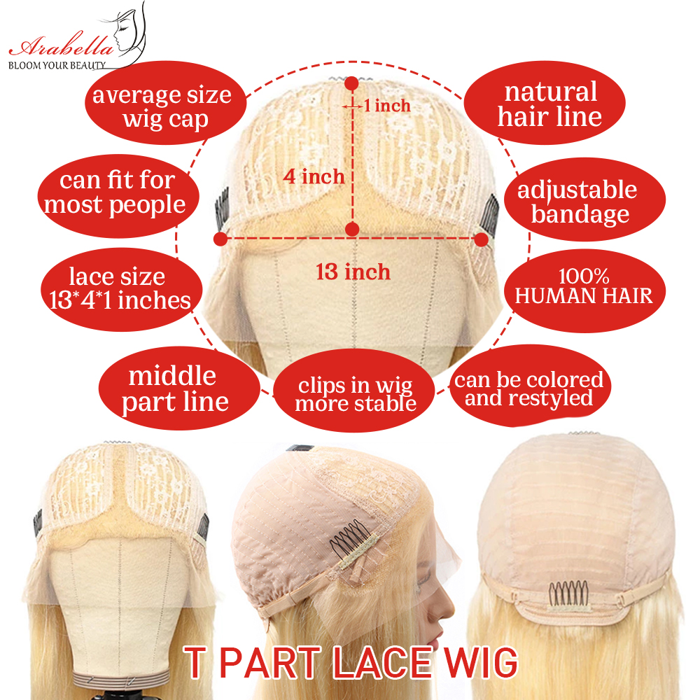 613 T Part Lace Wig 100%  Wigs Pre Plucked Bleached Knots With Baby Hair Arabella  Hair Wig Blonde Lace Wigs 5