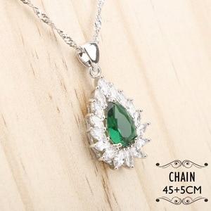 Image 3 - Ensemble de bijoux en Zircon vert argenté, Costume 925, boucles doreilles, pendentif et collier, bagues, ensemble de bijoux, coffret cadeau pour femmes