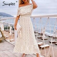 فستان سيمبلي مثير بدون أكتاف طويل ماكسي فستان أبيض نقط أنيق للحفلات لربيع وصيف الأجازات فساتين فيستيدو 2020