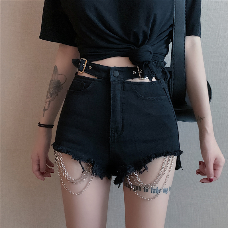 Vintage Gothic Black Hole Chain Denim <font><b>Shorts</b></font> Women Spring Summer 2020 New Harajuku Female <font><b>Sexy</b></font> <font><b>Shorts</b></font> Grunge Punk Hip Hop Jeans image