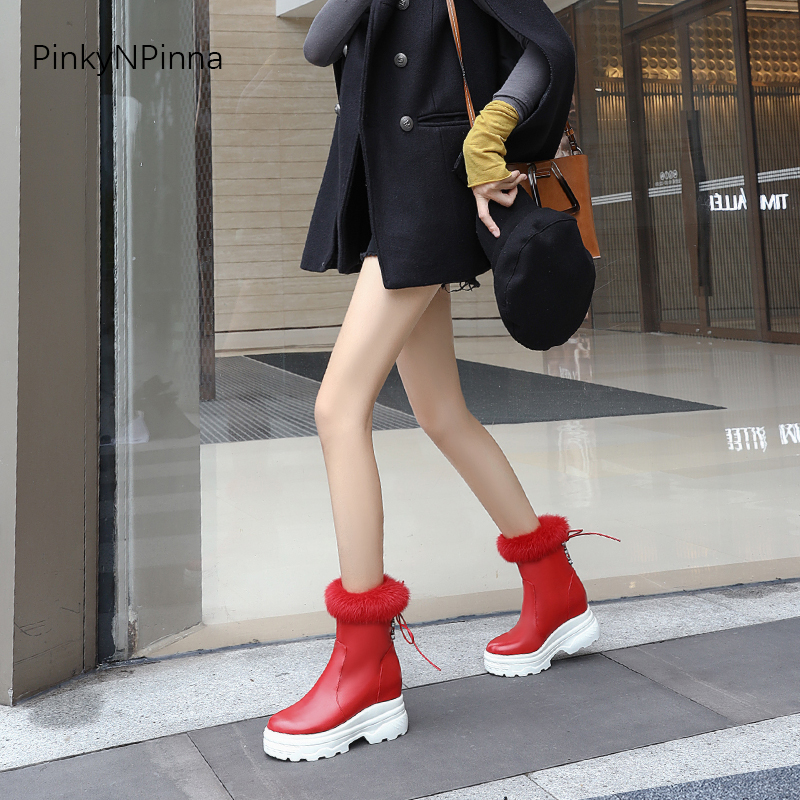 women rabbit fur snow boots winter ankle booties super thick platform height increasing outdoor waterproof warm ladies shoes in Ankle Boots from Shoes