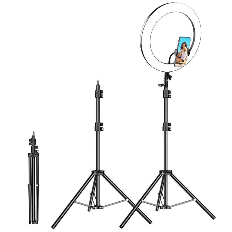 26cm Photography Youtube LED Selfie Cold Warm Lighting Dimmable LED Ring Light Phone Video Light Lamp   Tripod Ring Fill Light