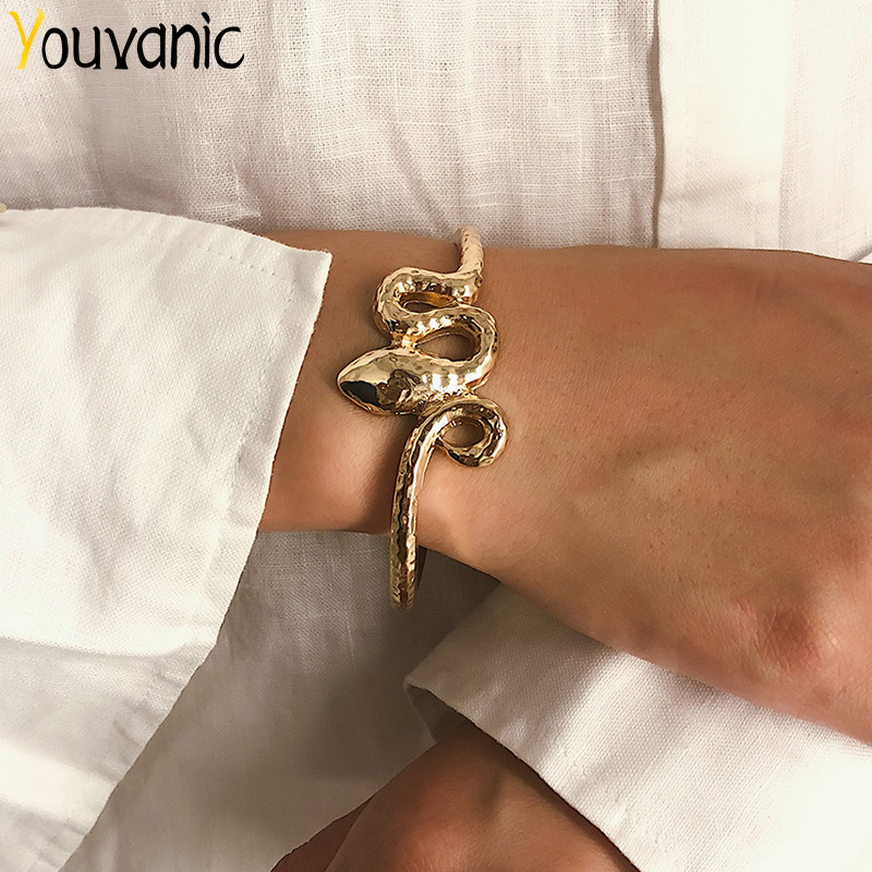 Youvanic Punk Twist Snake Open Bracelets Bangles For Women Female Gold Alloy Thick Bangle Charm Cuff Bracelet Boho Jewelry 0428 image