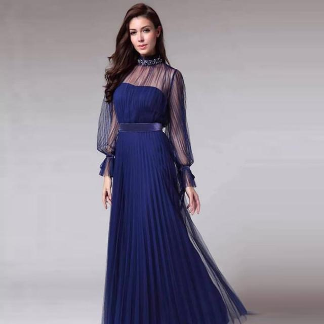 Spring and summer new blue temperament  dress female banquet annual meeting atmosphere long style dress 3