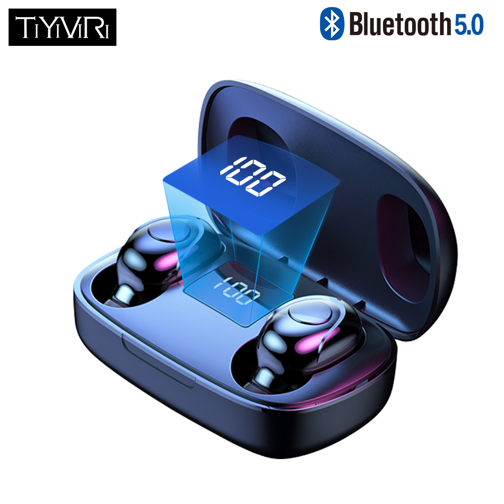 Tws Draadloze Bluetooth Koptelefoon 6D Hifi Stereo Bass Sport Headset Waterdicht Noise Cancelling Handsfree Met Mic Led Display
