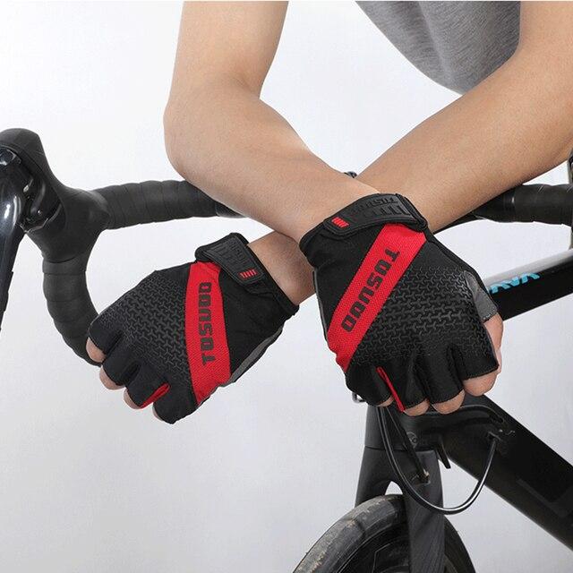 Tosuod 2021new luvas de ciclismo antiderrapante mtb luvas de bicicleta de montanha metade dedo luvas de ginásio de fitness de verão 4