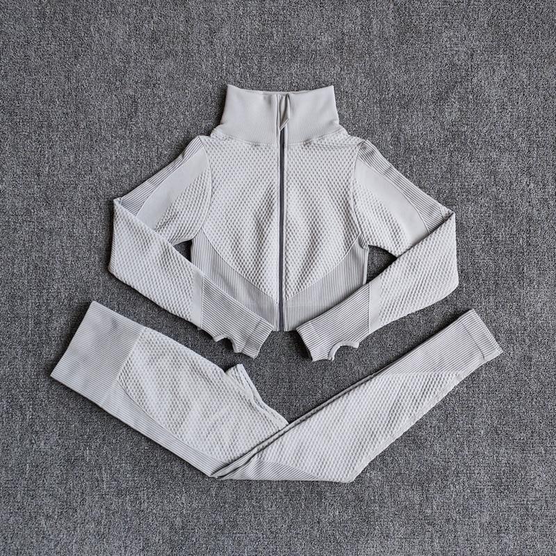ShirtsPantsWhite - Women Seamless Fitness Yoga Suit Color-blocked Sportwear