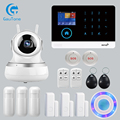 APP Afstandsbediening Wireless Home Security WIFI GSM SOS GPRS alarmsysteem met Camera RFID card Arm Ontwapenen Voor Android en IOS