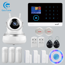лучшая цена APP Remote Control Wireless Home Security WIFI GSM SOS GPRS Alarm system with Camera RFID card Arm Disarm For Android and IOS
