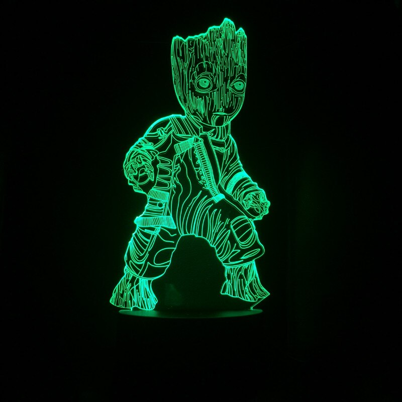 Gardiens de la galaxie Groot 3D Anime lampe PVC figurines Marvel Avengers Endgame je suis Groot Figurine jouets cadeau