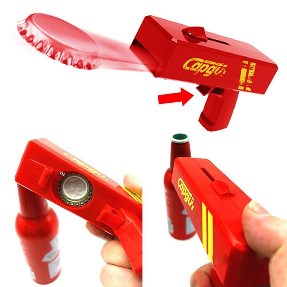 Portable Creative Cap Gun Flying Cap Launcher Bottle Bottle Opening Lid Bar Shooter Drink Opener Tool Shaped Exotic Toy Bee X7H2