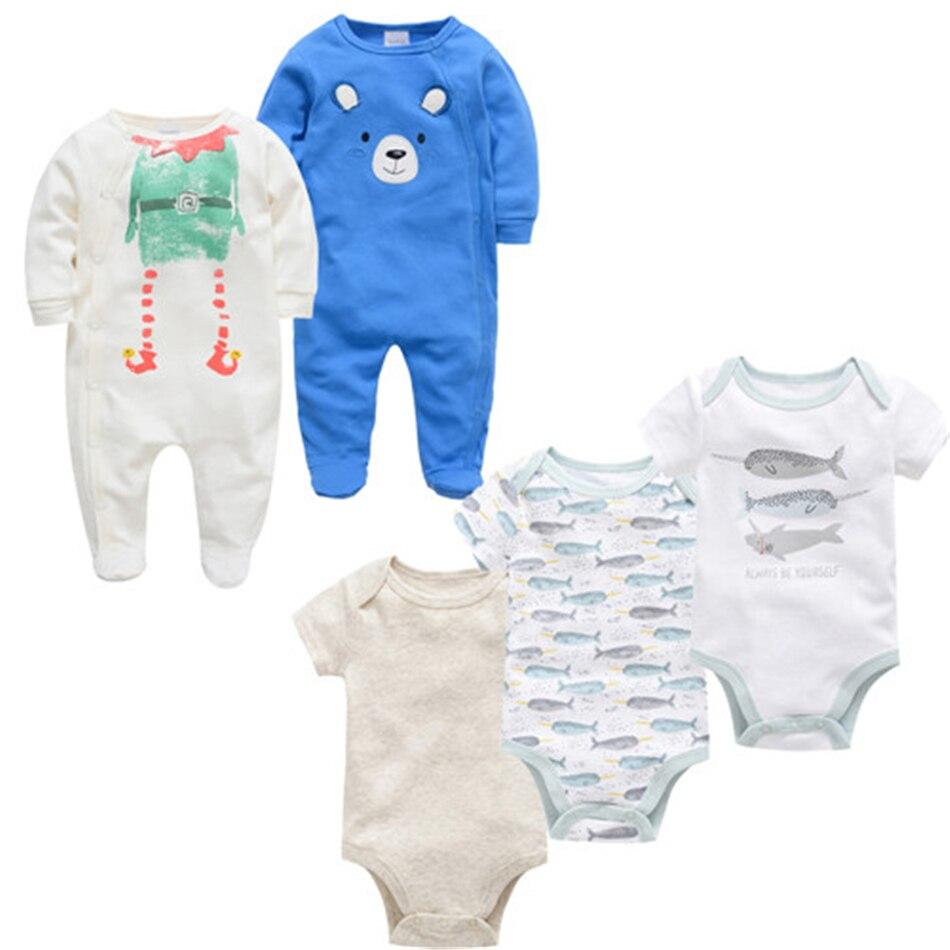 Spring Summer New Born Girl Jumpsuits Baby Boy Rompers Cotton 5PCS Newborn Body Suit Baby Pajama Boys Cartoon Animal Onesies Set
