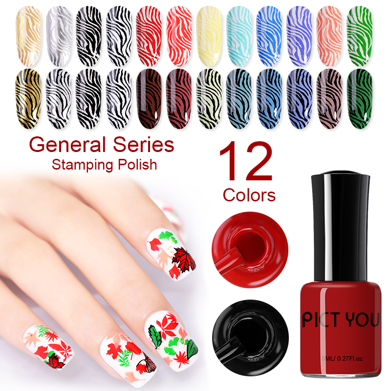 Pict You 8ml Stamping Nail Polish Pure Color Black White Red Nail Art Printing Varnish Manicure DIY Design Stamping Polish