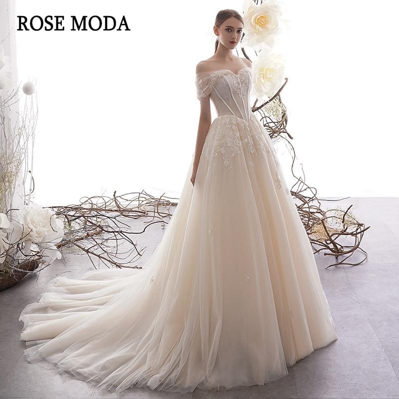 Rose Moda Off Shoulder Lace Wedding Dress 2020 Lace Up Back Custom MakeWedding Dresses   -