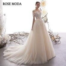 Rose Moda Off Shoulder koronkowa suknia ślubna 2020 Lace Up powrót Custom Make