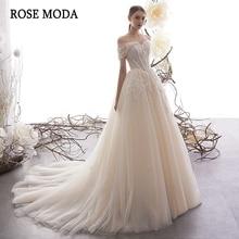 Vestido de novia de encaje con hombros descubiertos, Moda Rosa 2020, con cordones en la espalda, hecho a medida